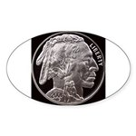 Silver Indian Head Oval Sticker