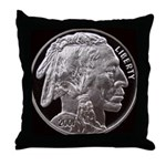 Silver Indian Head Throw Pillow