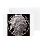 Silver Indian Head H Greeting Cards (10 Pk)
