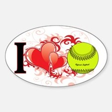 I love softball Sticker (Oval)
