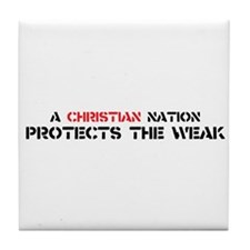 Christian Nation Protects Tile Coaster