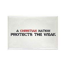 Christian Nation Protects Rectangle Magnet