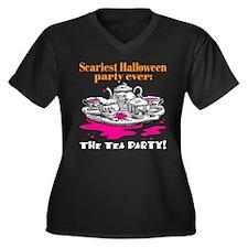 Halloween Tea Party Women's Plus Size V-Neck Dark