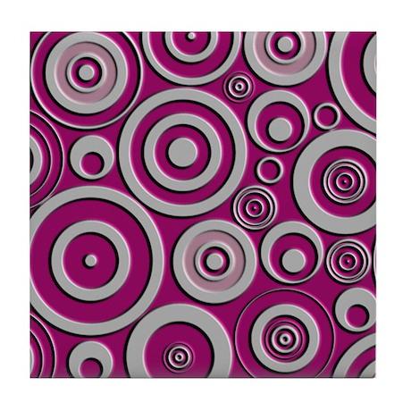 Pink Circles Tile Coaster