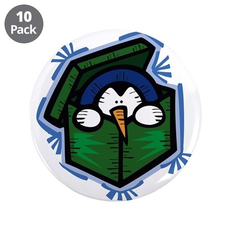 """Penguin in a Box 3.5"""" Button (10 pack)"""