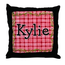 Little Ladybugs Red Plaid Throw Pillow