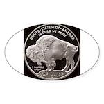 Silver Buffalo Oval Sticker