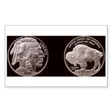 Silver Indian-Buffalo Rectangle Decal
