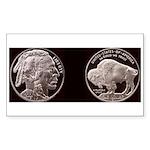 Silver Indian-Buffalo Rectangle Sticker