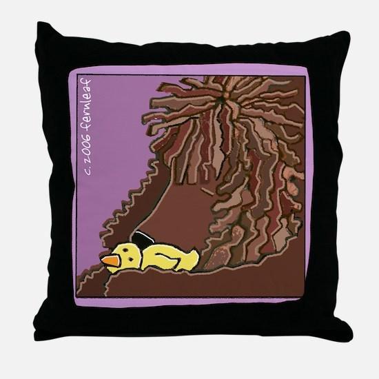 Sleeping Irish Water Spaniel Throw Pillow