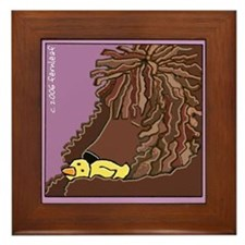 Sleeping Irish Water Spaniel Framed Tile