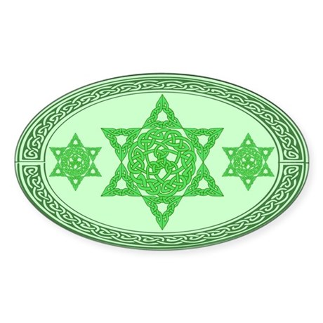 Celtic Star of David Oval Sticker