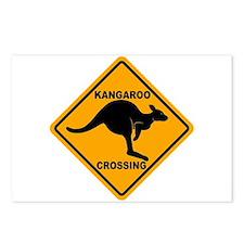 Kangaroo Crossing Sign Postcards (Package of 8)