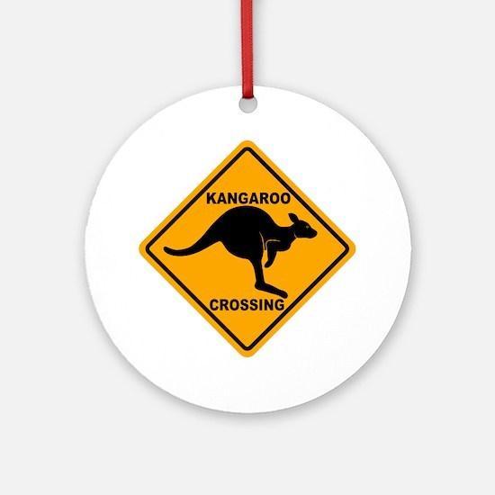 Kangaroo Crossing Sign Ornament (Round)