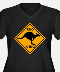 Roo X-ing Sign Women's Plus Size V-Neck Dark T-Shi