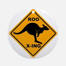 Roo X-ing Sign Ornament (Round)