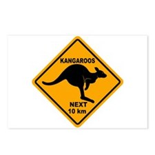 Kangaroos Next 10 km Sign Postcards (Package of 8)
