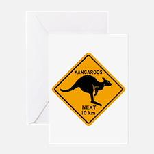 Kangaroos Next 10 km Sign Greeting Card