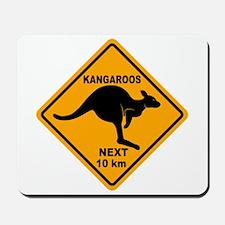 Kangaroos Next 10 km Sign Mousepad
