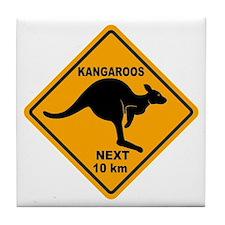 Kangaroos Next 10 km Sign Tile Coaster