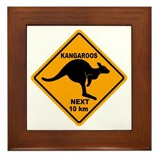 Kangaroos Next 10 km Sign Framed Tile