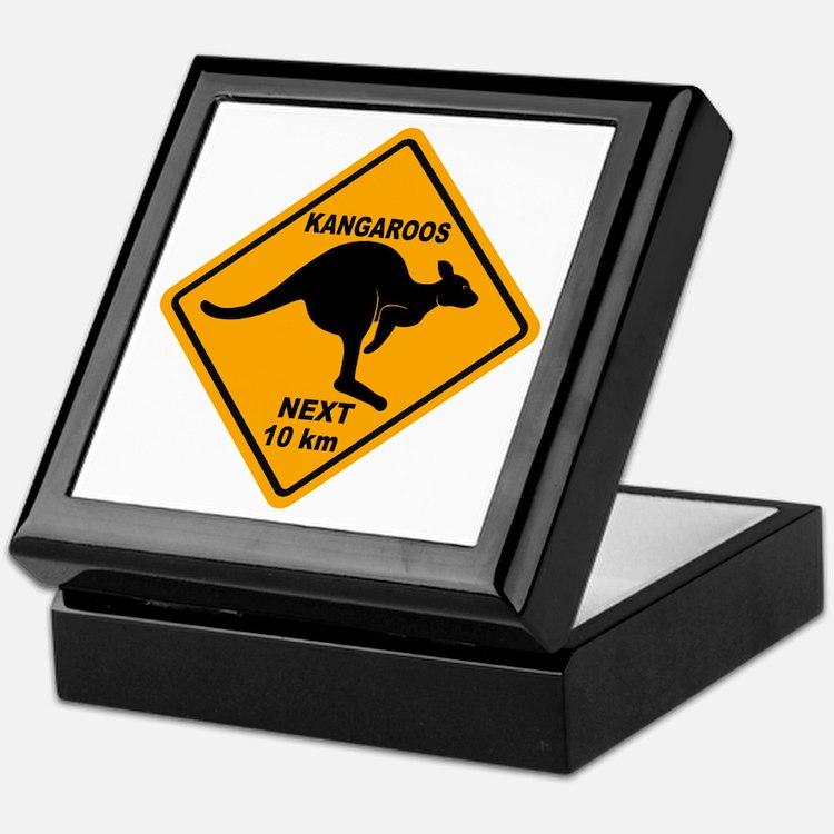 Kangaroos Next 10 km Sign Keepsake Box