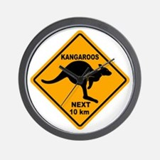 Kangaroos Next 10 km Sign Wall Clock