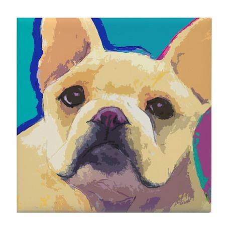 Yellow French Bulldog Tile Coaster