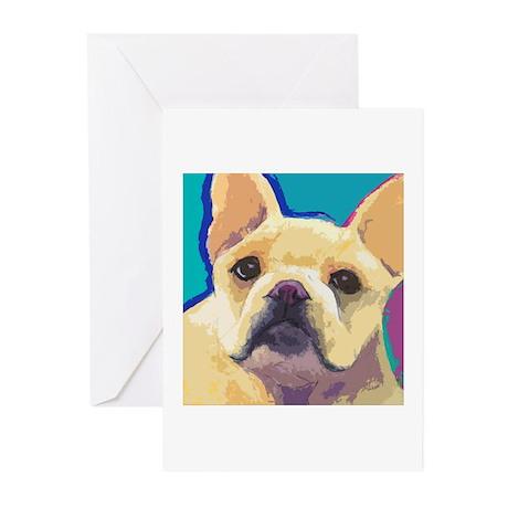 Yellow French Bulldog Greeting Cards (Pk of 10)
