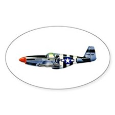 P-51 Mustang Drawing Oval Decal