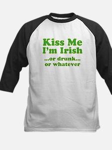 Kiss Me I'm Irish or Drunk or Kids Baseball Jersey