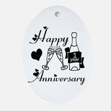 Cute Anniversary first Oval Ornament