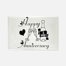 Cute 1st wedding anniversary Rectangle Magnet