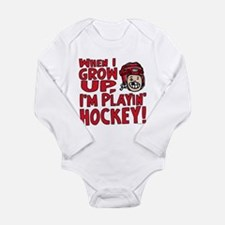 Grow Up Hockey Red Long Sleeve Infant Bodysuit