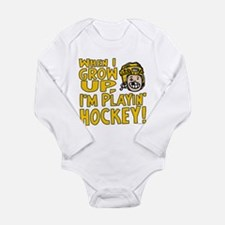 Grow Up Hockey Yellow Long Sleeve Infant Bodysuit