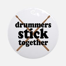 Funny Drummers Stick Together Ornament (Round)