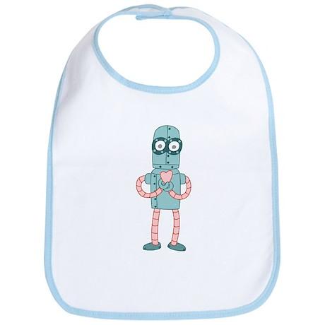 Robot Valentine Heart Baby Bib