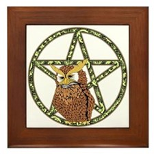 vines Pentagram Owl Framed Tile