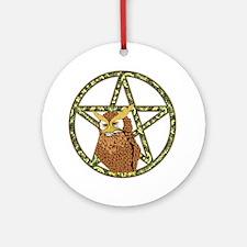 vines Pentagram Owl Ornament (Round)