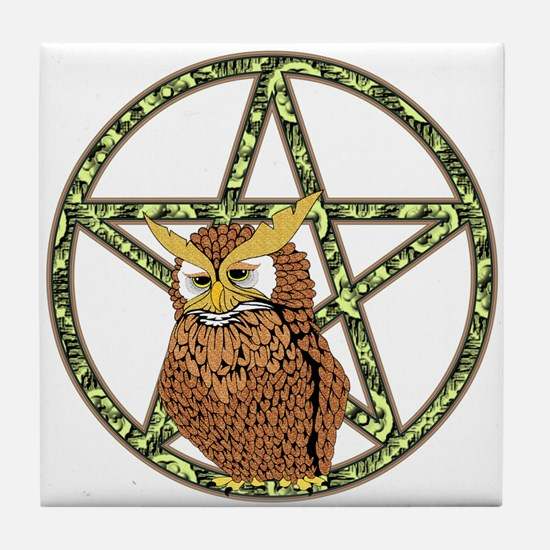vines Pentagram Owl Tile Coaster