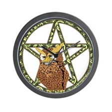 vines Pentagram Owl Wall Clock