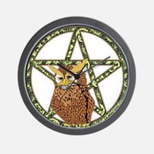 vines Pentagram Owl Wall Clock