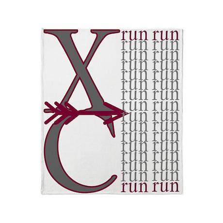 XC Run Maroon Grey Throw Blanket