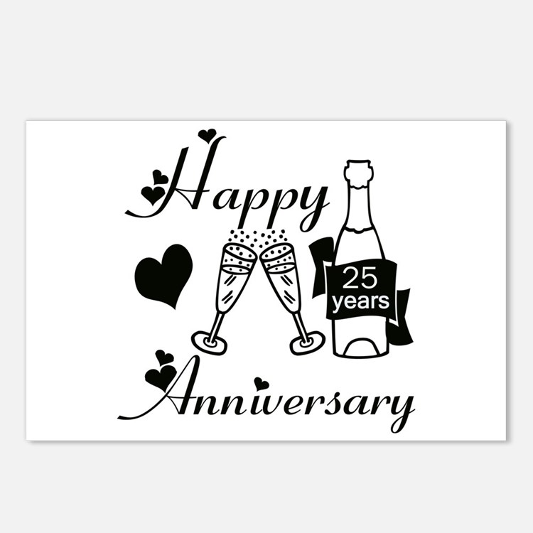 Cute 25th wedding anniversary Postcards (Package of 8)