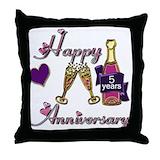 Anniversary 5th Throw Pillows