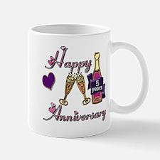 Anniversary pink and purple 5 Mugs