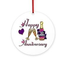 Unique 10th wedding anniversary Ornament (Round)