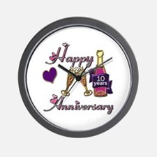 Cute 10th wedding anniversary Wall Clock