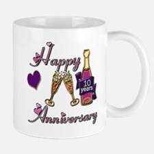 Anniversary pink and purple 10 Mugs