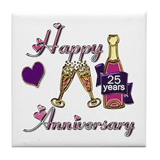 Cute 25th wedding anniversary Tile Coaster